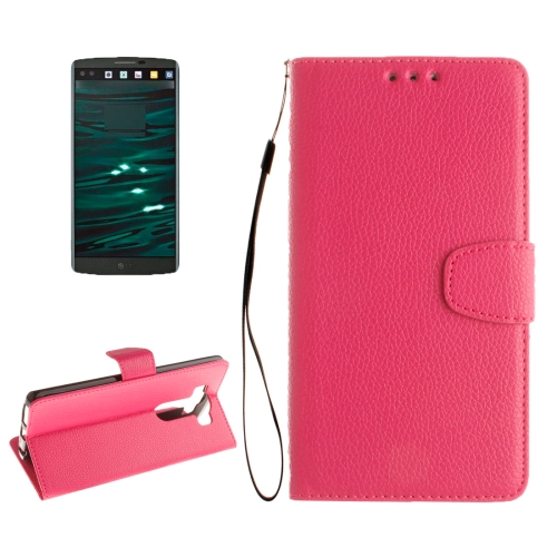 Buy For LG V10 Litchi Texture Horizontal Flip Leather Case with Holder & Card Slots & Wallet & Photo Frame & Lanyard, Magenta for $2.42 in SUNSKY store