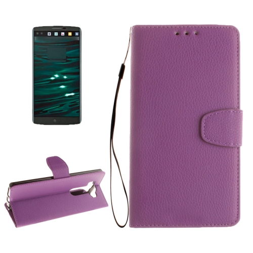Buy For LG V10 Litchi Texture Horizontal Flip Leather Case with Holder & Card Slots & Wallet & Photo Frame & Lanyard, Purple for $2.42 in SUNSKY store