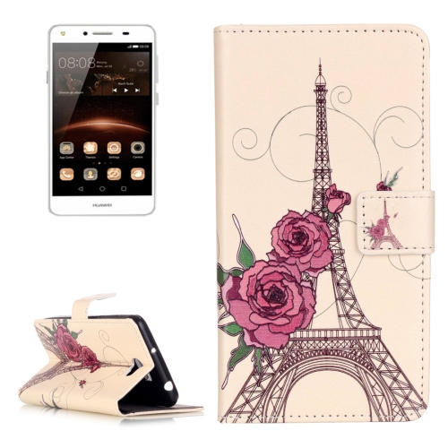 Buy Huawei Y5 II Embossment Rose Tower Pattern Horizontal Flip Leather Case with Holder & Card Slots & Wallet for $2.14 in SUNSKY store