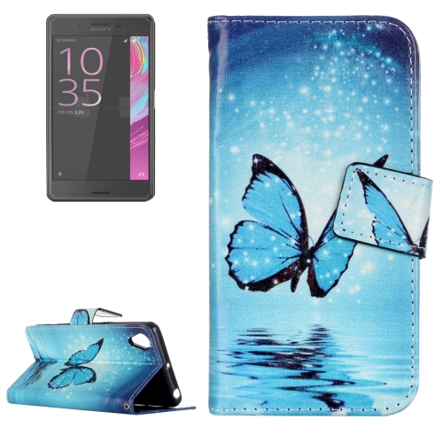 Buy For Sony Xperia XA Painting Blue Butterfly Pattern Horizontal Flip Leather Case with Holder & Card Slots for $2.15 in SUNSKY store