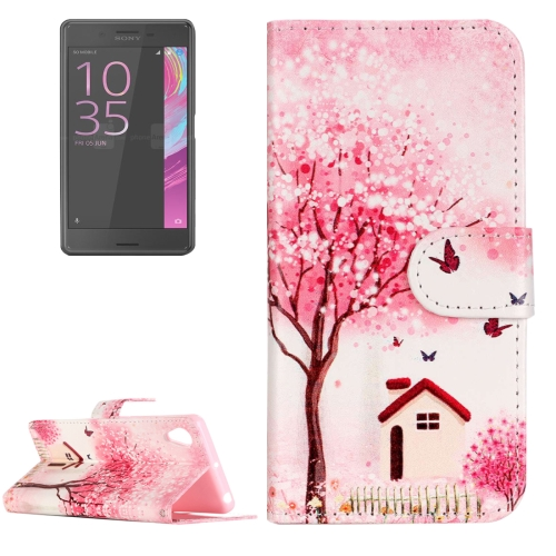 Buy For Sony Xperia XA Painting Pink Happy Cottage Pattern Horizontal Flip Leather Case with Holder & Card Slots for $2.15 in SUNSKY store