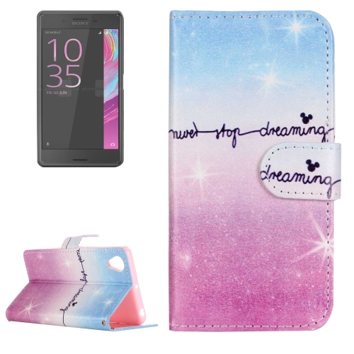 For Sony Xperia XA Painting Pink and Blue Dream Sky Pattern Horizontal Flip Leather Case with Holder & Card Slots