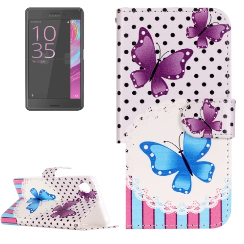 Buy For Sony Xperia XA Painting Purple and Blue Butterfly Pattern Horizontal Flip Leather Case with Holder & Card Slots for $2.15 in SUNSKY store