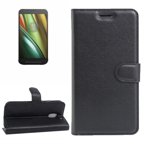 Buy For Motorola Moto E (3rd Gen) Litchi Texture Horizontal Flip Leather Case with Magnetic Buckle & Holder & Card Slots & Wallet, Black for $2.30 in SUNSKY store