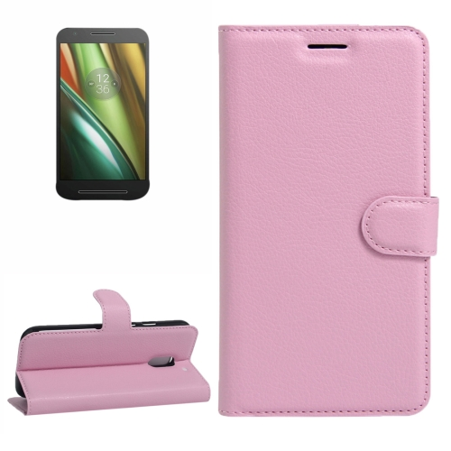 Buy For Motorola Moto E (3rd Gen) Litchi Texture Horizontal Flip Leather Case with Magnetic Buckle & Holder & Card Slots & Wallet, Pink for $2.30 in SUNSKY store