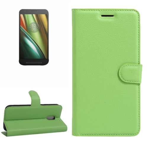 Buy For Motorola Moto E (3rd Gen) Litchi Texture Horizontal Flip Leather Case with Magnetic Buckle & Holder & Card Slots & Wallet, Green for $2.30 in SUNSKY store