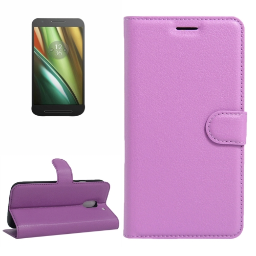 Buy For Motorola Moto E (3rd Gen) Litchi Texture Horizontal Flip Leather Case with Magnetic Buckle & Holder & Card Slots & Wallet, Purple for $2.30 in SUNSKY store
