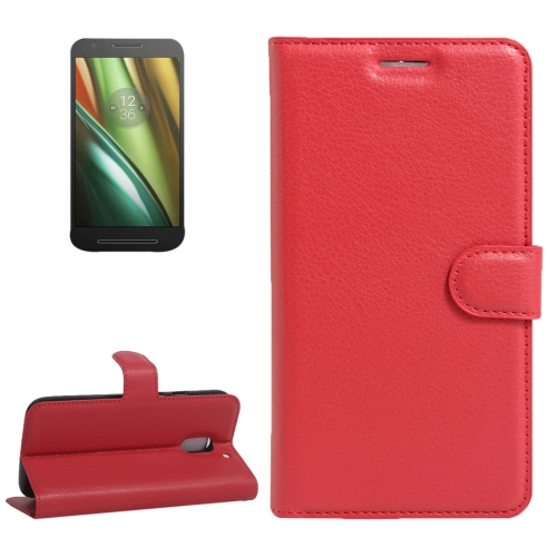 Buy For Motorola Moto E (3rd Gen) Litchi Texture Horizontal Flip Leather Case with Magnetic Buckle & Holder & Card Slots & Wallet, Red for $2.30 in SUNSKY store