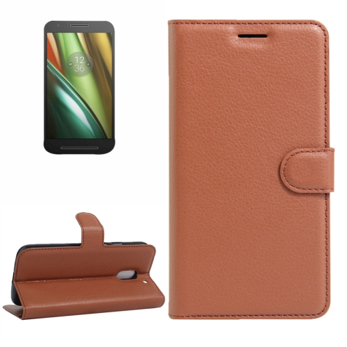 Buy For Motorola Moto E (3rd Gen) Litchi Texture Horizontal Flip Leather Case with Magnetic Buckle & Holder & Card Slots & Wallet, Brown for $2.30 in SUNSKY store