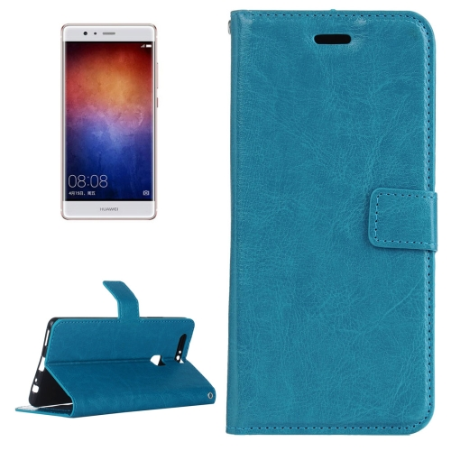 Buy For Huawei P9 Plus Crazy Horse Texture Horizontal Flip PU Leather Protective Case with Holder & Card Slots & Wallet & Photo Frame, Blue for $2.18 in SUNSKY store