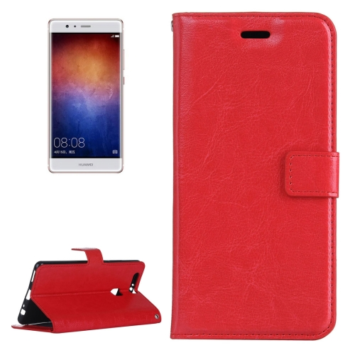 Buy For Huawei P9 Plus Crazy Horse Texture Horizontal Flip PU Leather Protective Case with Holder & Card Slots & Wallet & Photo Frame, Red for $2.18 in SUNSKY store