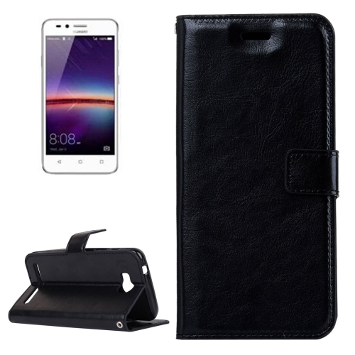 Buy For Huawei Y3 II Crazy Horse Texture Horizontal Flip PU Leather Protective Case with Holder & Card Slots & Wallet & Photo Frame, Black for $2.18 in SUNSKY store