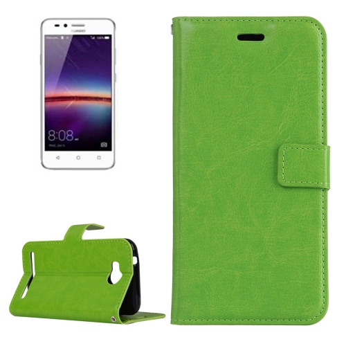 Buy For Huawei Y3 II Crazy Horse Texture Horizontal Flip PU Leather Protective Case with Holder & Card Slots & Wallet & Photo Frame, Green for $2.18 in SUNSKY store