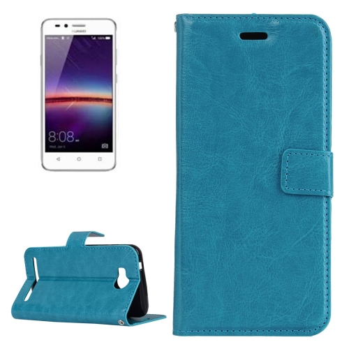 For Huawei Y3 II Crazy Horse Texture Horizontal Flip PU Leather Protective Case with Holder & Card Slots & Wallet & Photo Frame, Blue