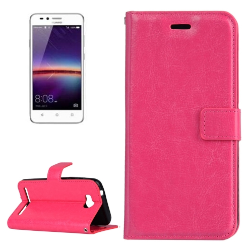 Buy For Huawei Y3 II Crazy Horse Texture Horizontal Flip PU Leather Protective Case with Holder & Card Slots & Wallet & Photo Frame, Magenta for $2.18 in SUNSKY store