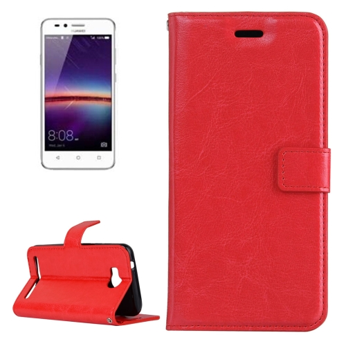 Buy For Huawei Y3 II Crazy Horse Texture Horizontal Flip PU Leather Protective Case with Holder & Card Slots & Wallet & Photo Frame, Red for $2.18 in SUNSKY store