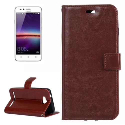 Buy For Huawei Y3 II Crazy Horse Texture Horizontal Flip PU Leather Protective Case with Holder & Card Slots & Wallet & Photo Frame, Brown for $2.18 in SUNSKY store