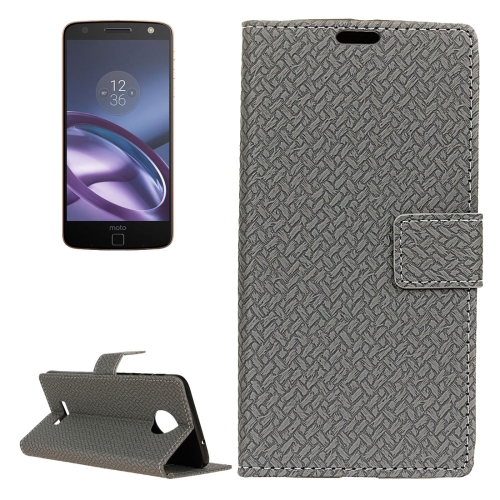 Buy For Motorola Moto Z Weaving Texture Horizontal Flip PU Leather Case with Magnetic Buckle & Holder & Card Slots & Wallet & Photo Frame, Grey for $3.19 in SUNSKY store