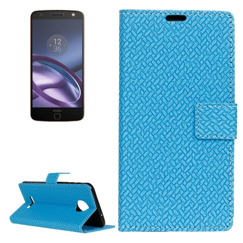 For Motorola Moto Z Weaving Texture Horizontal Flip PU Leather Case with Magnetic Buckle & Holder & Card Slots & Wallet & Photo Frame, Blue