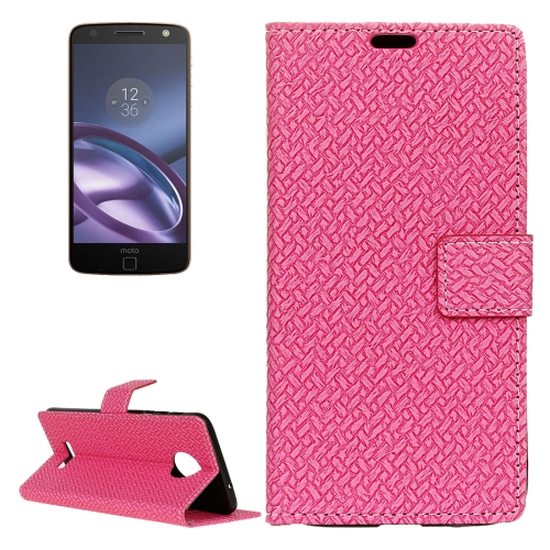 Buy For Motorola Moto Z Weaving Texture Horizontal Flip PU Leather Case with Magnetic Buckle & Holder & Card Slots & Wallet & Photo Frame, Magenta for $3.19 in SUNSKY store