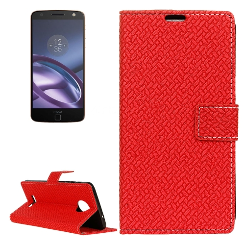 Buy For Motorola Moto Z Weaving Texture Horizontal Flip PU Leather Case with Magnetic Buckle & Holder & Card Slots & Wallet & Photo Frame, Red for $3.19 in SUNSKY store