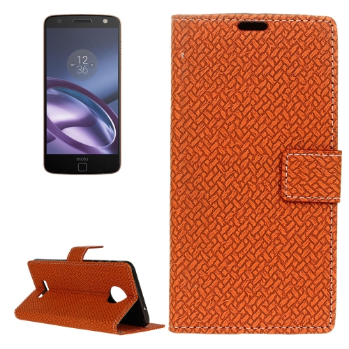 Buy For Motorola Moto Z Weaving Texture Horizontal Flip PU Leather Case with Magnetic Buckle & Holder & Card Slots & Wallet & Photo Frame, Brown for $3.19 in SUNSKY store