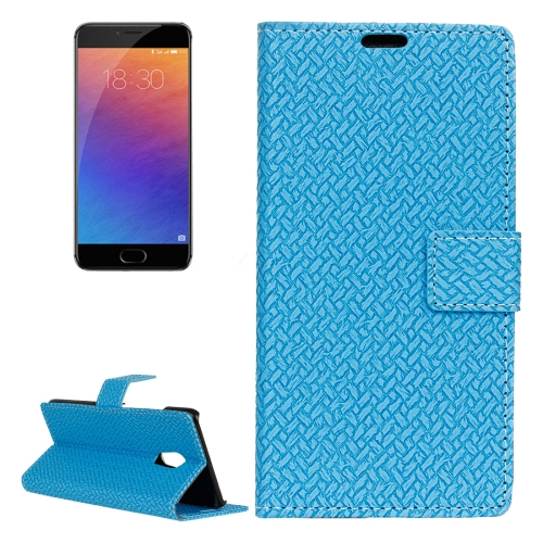 Buy For Meizu Pro 6 Weaving Texture Horizontal Flip PU Leather Case with Magnetic Buckle & Holder & Card Slots & Wallet & Photo Frame, Blue for $3.19 in SUNSKY store