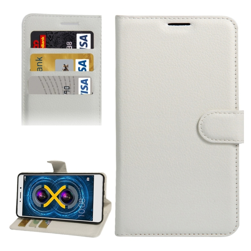 Buy For Huawei Honor 6x, 2016 Litchi Texture Horizontal Flip PU Leather Case with Holder & Card Slots & Wallet, White for $2.33 in SUNSKY store