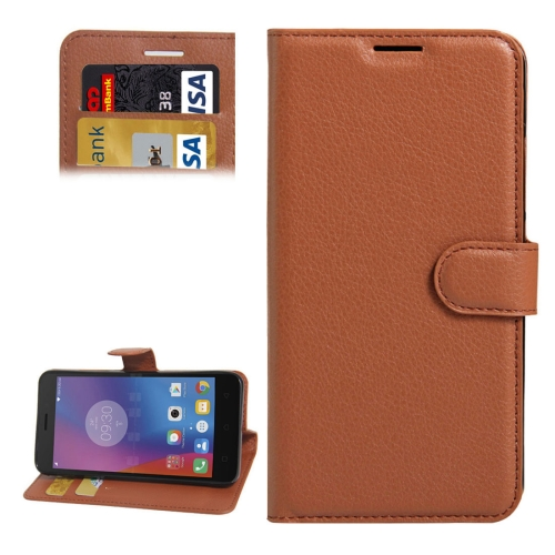 Buy For Lenovo K6 Litchi Texture Horizontal Flip PU Leather Case with Holder & Card Slots & Wallet, Brown for $2.32 in SUNSKY store