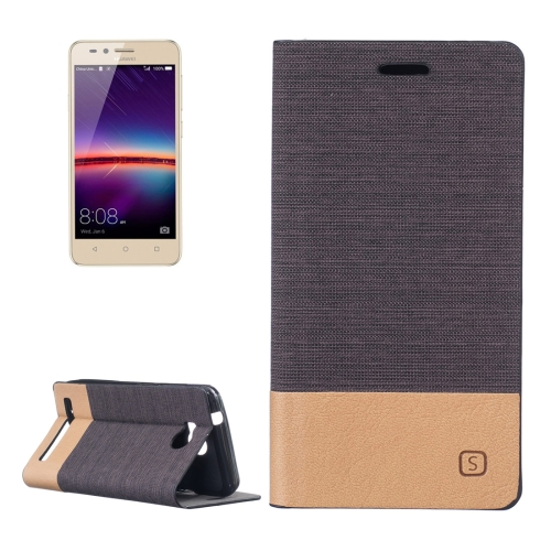 Huawei Y3 II Canvas Pattern PU + TPU Horizontal Flip Leather Case with Holder & Card Slots, Brown