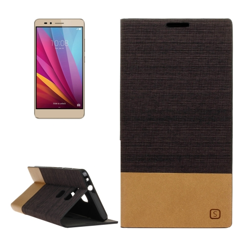 Buy Huawei Honor 5X Canvas Pattern PU + TPU Horizontal Flip Leather Case with Holder & Card Slots, Brown for $2.56 in SUNSKY store