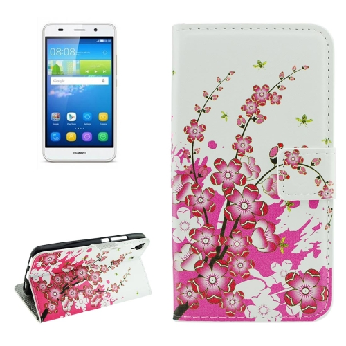 Buy For Huawei Y6 Plum Blossom Pattern Horizontal Flip Leather Case with Holder & Card Slots & Wallet for $2.18 in SUNSKY store