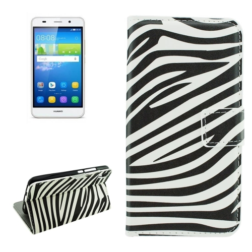 Buy For Huawei Y6 Zebra Stripes Pattern Horizontal Flip Leather Case with Holder & Card Slots & Wallet for $2.18 in SUNSKY store