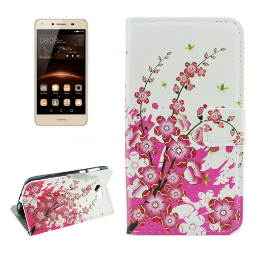 Buy For Huawei Y5 II Plum Blossom Pattern Horizontal Flip Leather Case with Holder & Card Slots & Wallet for $2.18 in SUNSKY store