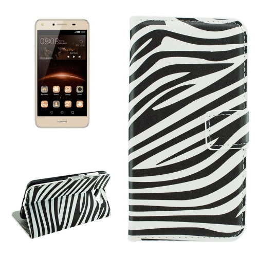 Buy For Huawei Y5 II Zebra Stripes Pattern Horizontal Flip Leather Case with Holder & Card Slots & Wallet for $2.18 in SUNSKY store