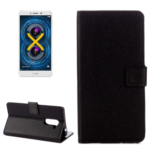Buy Huawei Honor 6X Litchi Texture Horizontal Flip Leather Case with Holder & Card Slots & Wallet, Black for $2.33 in SUNSKY store