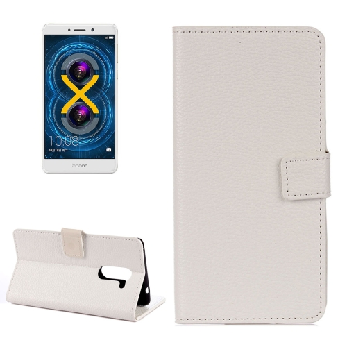 Huawei Honor 6X Litchi Texture Horizontal Flip Leather Case with Holder & Card Slots & Wallet, White