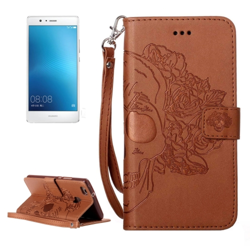 Buy Huawei P9 Lite Crazy Horse Texture Skull Printing Horizontal Flip Leather Case with Holder & Card Slots & Wallet & Lanyard, Brown for $2.76 in SUNSKY store