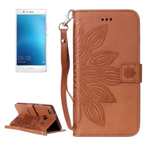 Buy Huawei P9 Lite Crazy Horse Texture Half Flower Printing Horizontal Flip Leather Case with Holder & Card Slots & Wallet & Lanyard, Brown for $2.76 in SUNSKY store