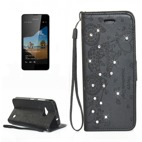 Buy For Microsoft Lumia 550 Pressed Flower Butterfly Carriage Pattern Diamond Encrusted Horizontal Flip Leather Case with Holder & Card Slots & Wallet & Photo Frame & Lanyard, Black for $2.43 in SUNSKY store