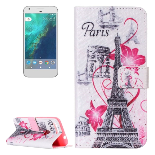 Buy For Google Pixel Flower and Tower Pattern Horizontal Flip Leather Case with Card Slots & Wallet & Holder for $2.17 in SUNSKY store
