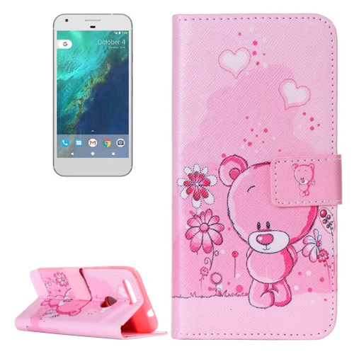 Buy For Google Pixel Pink Bear Pattern Horizontal Flip Leather Case with Card Slots & Wallet & Holder for $2.17 in SUNSKY store
