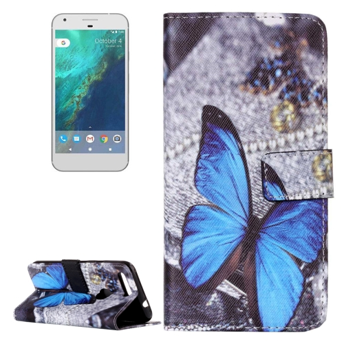 Buy For Google Pixel Blue Butterfly Pattern Horizontal Flip Leather Case with Card Slots & Wallet & Holder for $2.17 in SUNSKY store