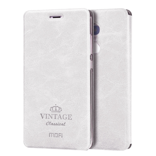 Buy MOFI VINTAGE Xiaomi Redmi Note 4 Crazy Horse Texture Horizontal Flip Leather Case with Card Slot & Holder & Sleep / Wake-up Function, White for $4.73 in SUNSKY store