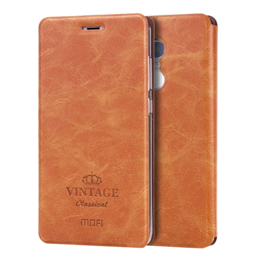 Buy MOFI VINTAGE Xiaomi Redmi Note 4 Crazy Horse Texture Horizontal Flip Leather Case with Card Slot & Holder & Sleep / Wake-up Function, Brown for $4.73 in SUNSKY store