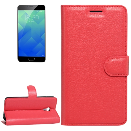 Buy Meizu M5 / Meilan 5 Litchi Texture Horizontal Flip Leather Case with Holder & Card Slots & Wallet, Red for $2.33 in SUNSKY store