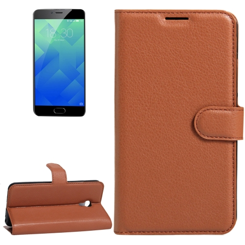 Buy Meizu M5 / Meilan 5 Litchi Texture Horizontal Flip Leather Case with Holder & Card Slots & Wallet, Brown for $2.33 in SUNSKY store