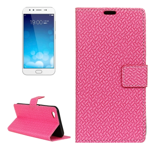 Buy Vivo X9 Knit Texture Horizontal Flip Leather Case with Holder & Card Slots & Wallet & Photo Frame, Magenta for $3.19 in SUNSKY store
