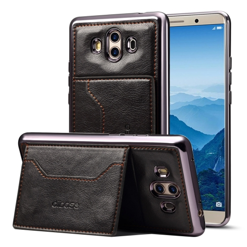 Buy Dibase Huawei Mate 10 Electroplating TPU Leather Texture Protective Leather Case with Holder & Card Slots & Lanyard, Black for $2.87 in SUNSKY store