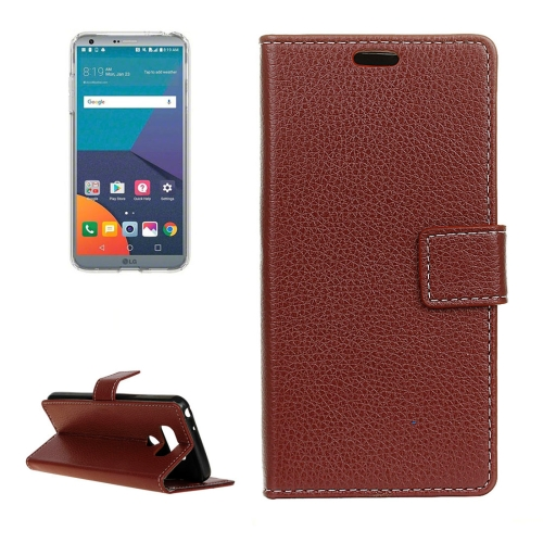 Buy For LG G6 Litchi Texture Horizontal Flip Leather Case with Holder & Card Slots & Wallet & Photo Frame, Brown for $2.96 in SUNSKY store